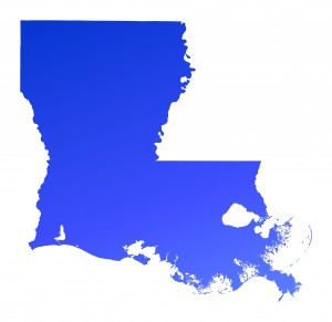 Blue gradient Louisiana map, USA